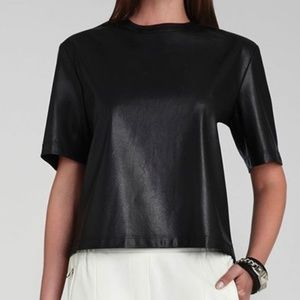 BCBGMazAzria Relaxed Faux-Leather Black Shirt